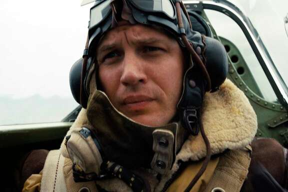 "This image released by Warner Bros. Pictures shows Tom Hardy in a scene from ""Dunkirk."" (Warner Bros. Pictures via AP)"