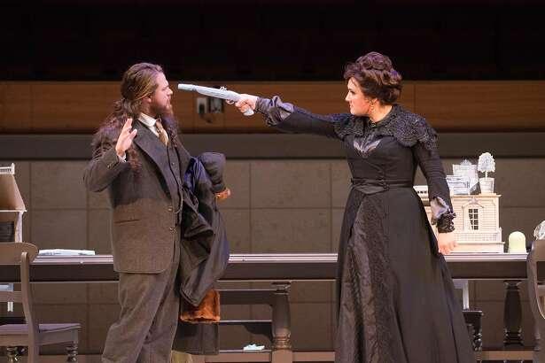 "Cody Quattlebaum (l.) and�Ashley Dixon in the Merola Opera production of William Walton's ""The Bear."""