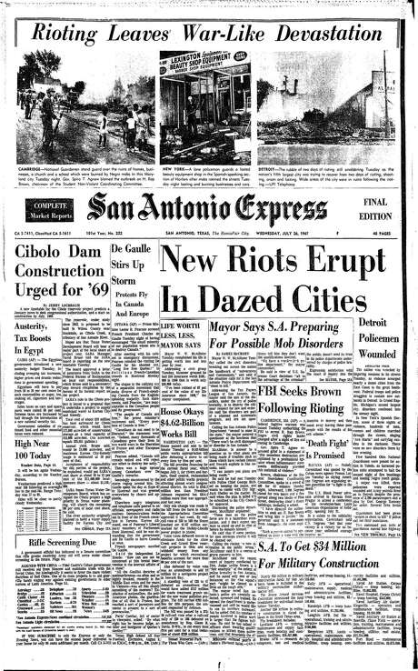 "Riots dominated the front page of the July 26, 1967 San Antonio Express. A triptych of photos from Detroit, New York and Cambridge, Maryland topped the masthead under the headline, ""Rioting leaves war-like devastation. Under a national story with the headline, ""New riots erupt in dazed cities,"" the paper ran a local story about an address that Mayor W.W. McAllister gave to a community group at a luncheon, in which he said the city was preparing for ""possible mob disorders."" Photo: From Digitized Microfilm / From Digitized Microfilm"