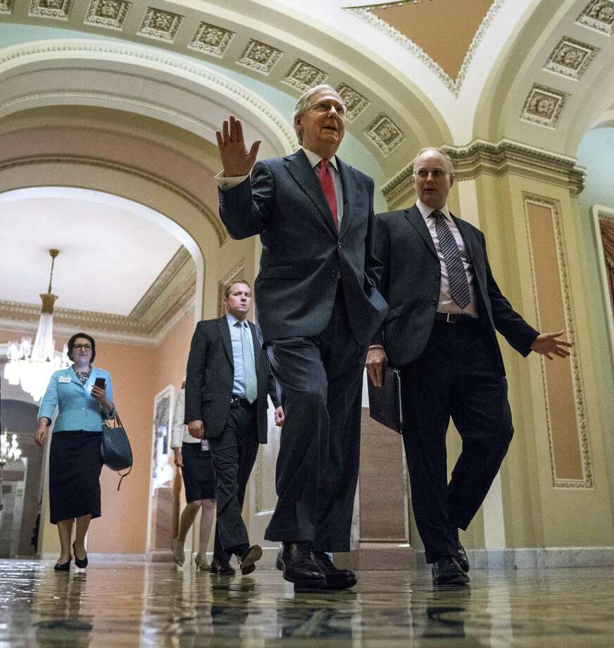 Senate Majority Leader Mitch McConnell heads to the Senate floor, on Capitol Hill Wednesday. The demise of the Senate's health care bill should spark a new bipartisan effort to fix the Affordable Care Act. Photo: DOUG MILLS /NYT / NYTNS