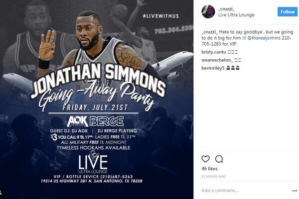 """Jonathan Simmons is on his way out of San Antonio and to the Orlando Magic after two years with the Spurs, but not before the city says goodbye in a """"big"""" way at LIVE Ultra Lounge on Friday."""