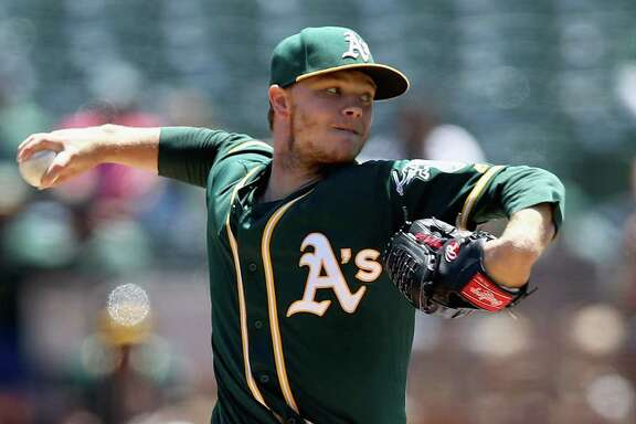 OAKLAND, CA - JULY 19:  Sonny Gray #54 of the Oakland Athletics pitches against the Tampa Bay Rays in the first inning at Oakland Alameda Coliseum on July 19, 2017 in Oakland, California.  (Photo by Ezra Shaw/Getty Images)