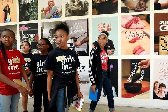 From left, Sasha Bonds, Daniela Jimenez, India Allison Jala Williams, and Nina Lewis with Girls Inc. take a tour of  AirBnB headquarters in San Francisco, CA, on Friday July 7, 2017.