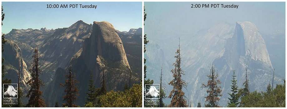 Webcam photos provided by the Yosemite Conservancy show Half Dome on Tuesday as smoke from the Detwiler Fire swirls into Yosemite Valley, from late morning to early afternoon. Photo: Associated Press
