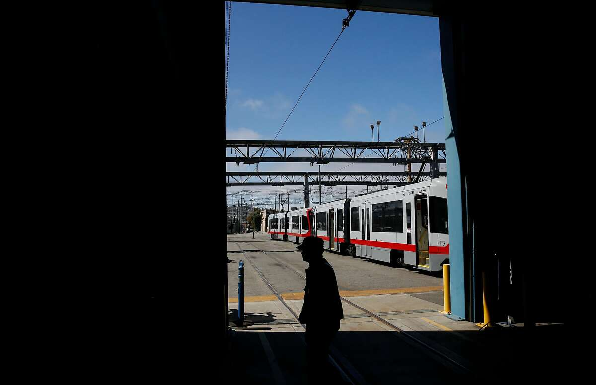 The new MUNI trains are visible from the inside of the MUNI Metro East Maintenance Facility July 20, 2017 in San Francisco, Calif.