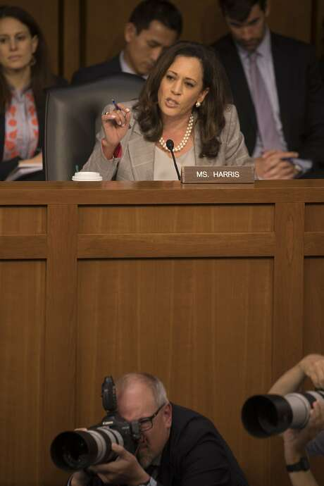 Sen. Kamala Harris, a Democrat from California, and Sen. Rand Paul, a Republican from Kentucky, have teamed up on legislation to reform the nation's bail system. (Stephen Crowley/The New York Times) Photo: STEPHEN CROWLEY, NYT