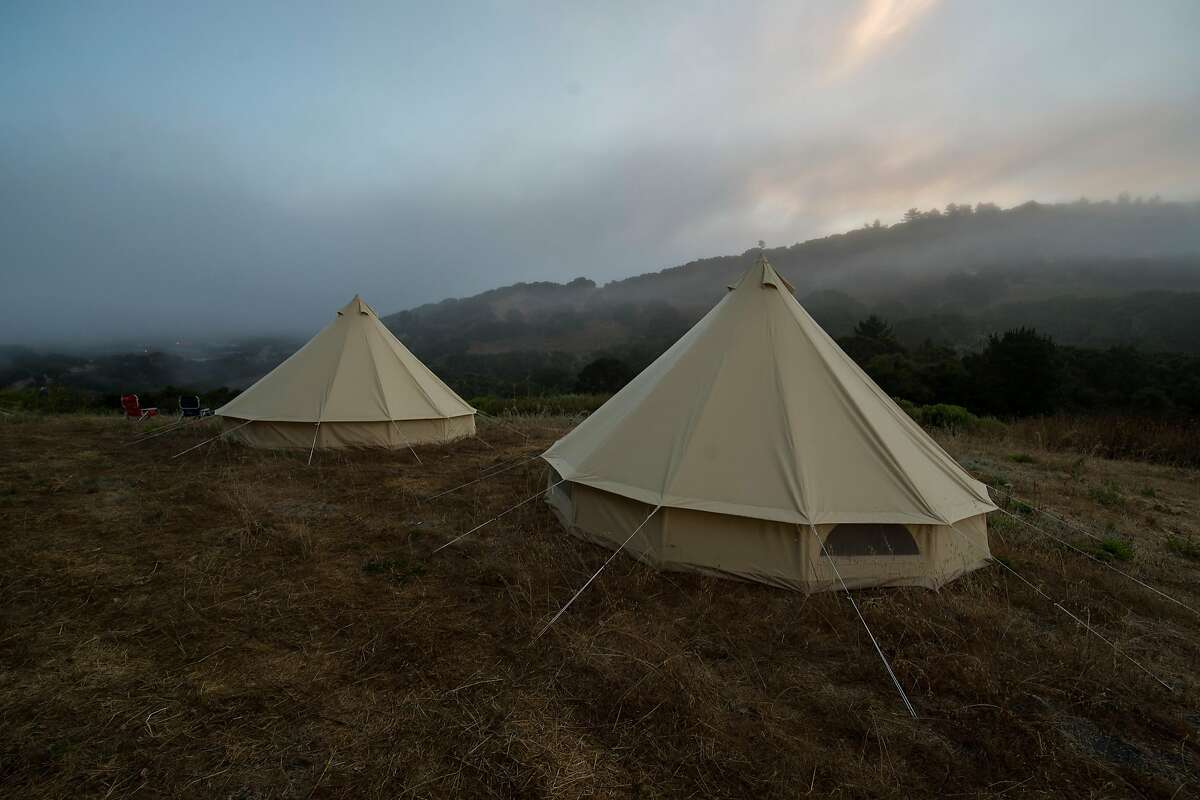 Yurts overlooking part of the Walden Monterey development site, for architects, artists and builders to experience the property and get a genuine feel for its natural amenities.