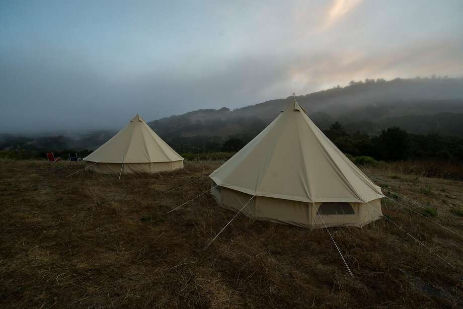 Yurts overlooking part of the Walden Monterey development site, for architects, artists and builders to experience the property and get a genuine feel for its natural amenities. Photo: Nic Coury, Special To The Chronicle