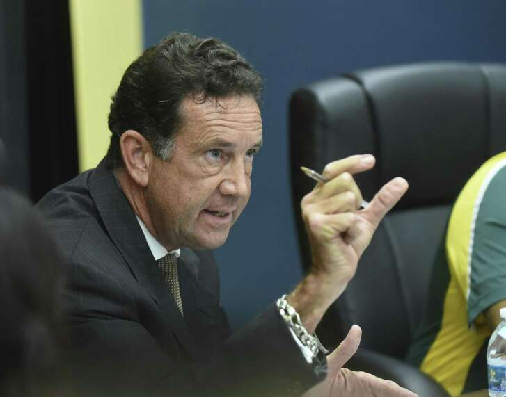 Crystal City attorney James Jonas attempts to explain a tax hike during a city council meetings on Friday, Oct. 9, 2015.