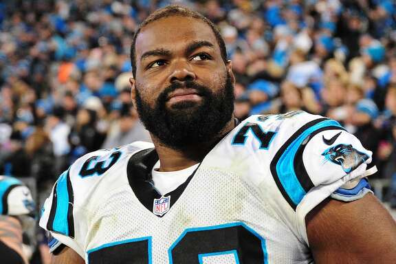 CHARLOTTE, NC - JANUARY 24: Michael Oher #73 of the Carolina Panthers watches play against the Arizona Cardinals during the NFC Championship Game at Bank Of America Stadium on January 24, 2016 in Charlotte, North Carolina. (Photo by Scott Cunningham/Getty Images)