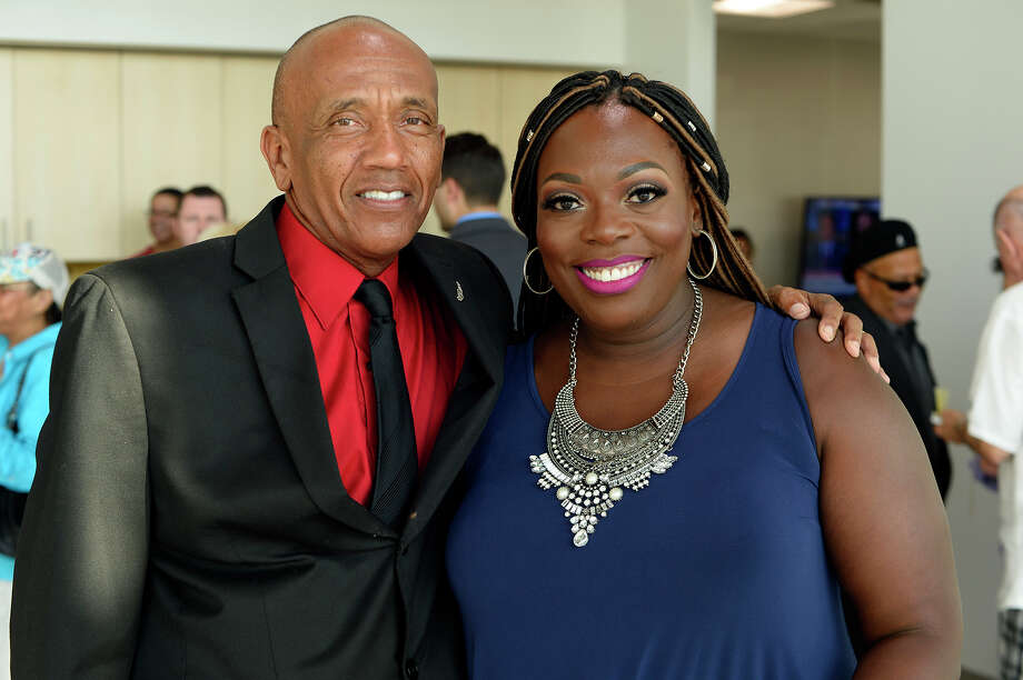 Lionel Briggs and honoree Camille Briggs at the Pioneering Women Media Party at Mercedes of Beaumont on Thursday. Seven women will be honored during an Aug. 3 luncheon.  Photo taken Thursday 7/20/17 Ryan Pelham/The Enterprise Photo: Ryan Pelham / ©2017 The Beaumont Enterprise/Ryan Pelham