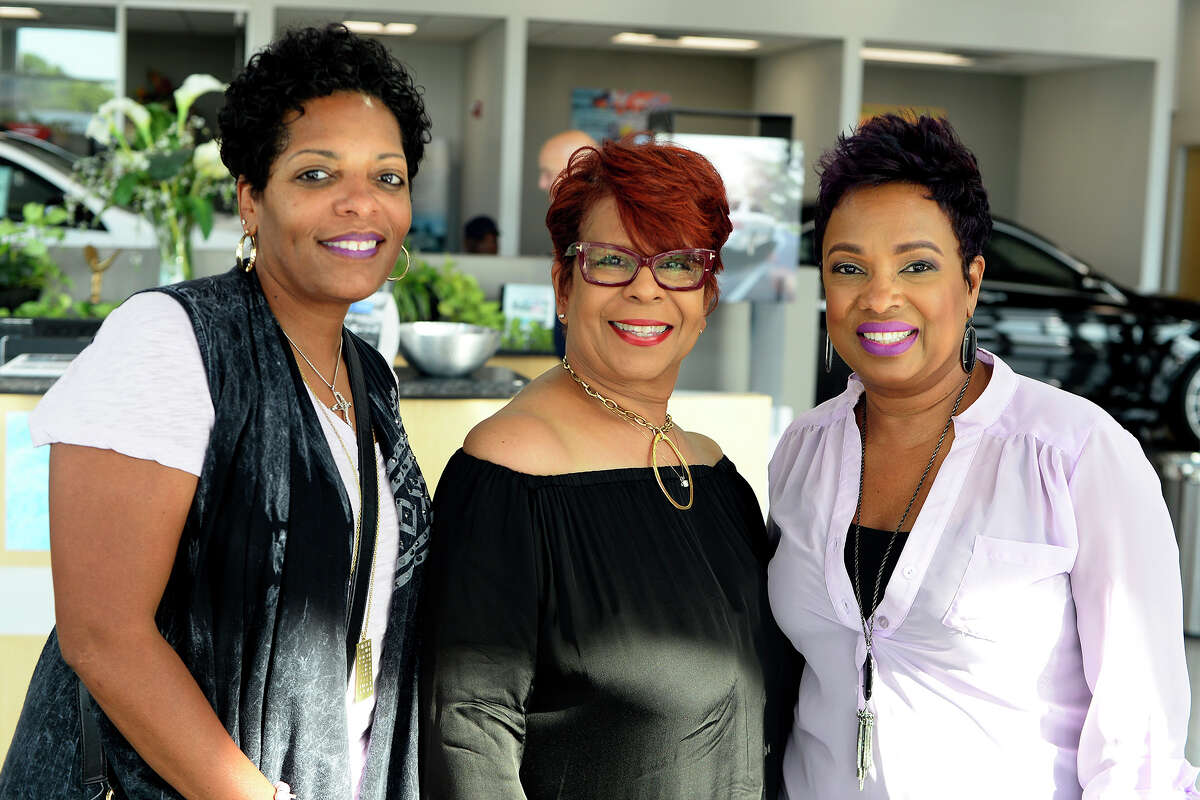 Alesha Wells, Ingrid Holmes and Charlotte Moses at the Pioneering Women Media Party at Mercedes of Beaumont on Thursday. Seven women will be honored during an Aug. 3 luncheon. Photo taken Thursday 7/20/17 Ryan Pelham/The Enterprise