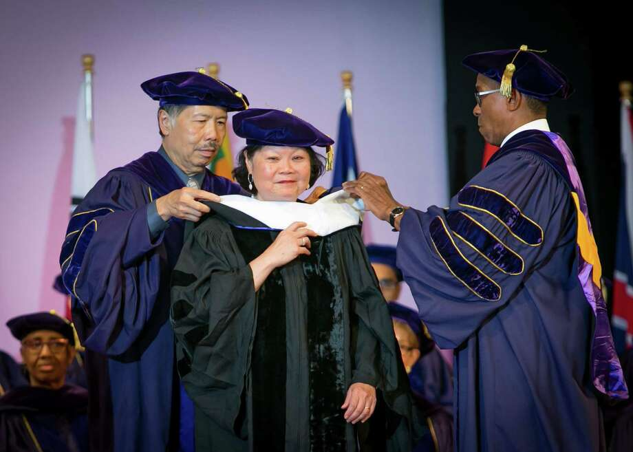 Excelsior College presented an Honorary Degree - Doctor of Humane Letters (Honoris Causa) to July 14 to Carolyn Y. Woo, the former president & CEO of Catholic Relief Services. (Submitted photo) Photo: CMichael Hemberger/Photographer / 518-3819003