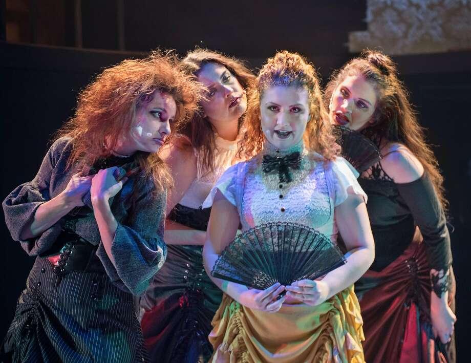 Chloë Angst (left), Hayley Lovgren, Sharon Lita and Amy Soriano-Palagi. Photo: Steve DiBartolomeo, City Lights Theater Company