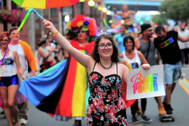 Sariah Hassan, 14, of Bridgeport, participates in the 7th annual SAMESEX Bridgeport Pride March to McLevy Green as part of the City Lights Galery exhibit and reception on Thursday. For a story and more photos, see A4.