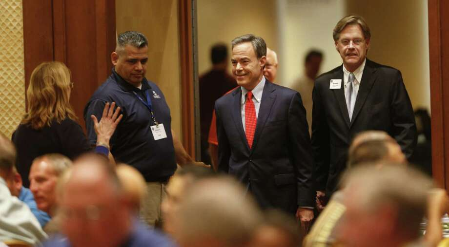 House Speaker Joe Straus enters the ball room to address  about 375 school board members and superintendents at a Texas Association of School Boards conference on Wednesday, June 14, at the San Antonio Marriott Rivercenter Photo: Ron Cortes, Freelance / For The San Antonio Express-News