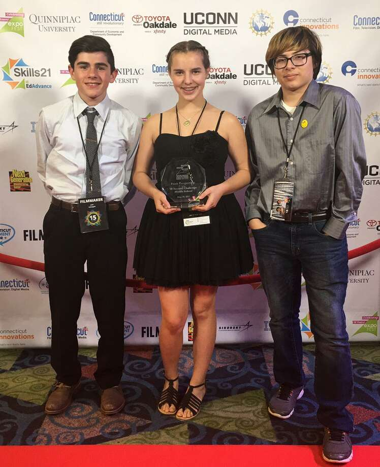 "Middle school students at Shepaug Valley School in Washington recently placed first for their film ""The Epic Chase"" in the category of 90-second Live Action Challenge at the 2017 Connecticut Student Film Festival held in Wallingford. The winners of the film are, from left to right, Giacomo Colangelo, Sierra Wilson and Darius Moreno. Photo: Courtesy Of Shepaug Valley School / The News-Times Contributed"