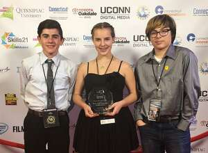 """Middle school students at Shepaug Valley School in Washington recently placed first for their film """"The Epic Chase"""" in the category of 90-second Live Action Challenge at the 2017 Connecticut Student Film Festival held in Wallingford. The winners of the film are, from left to right, Giacomo Colangelo, Sierra Wilson and Darius Moreno."""