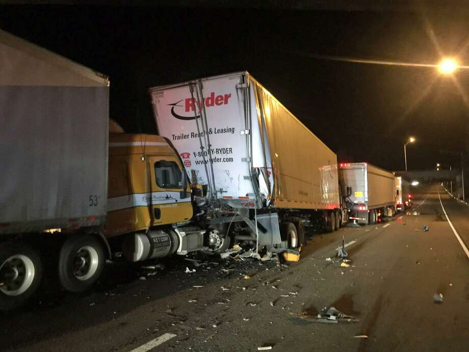 Four tractor-trailer trucks were involved in an overnight accident on I-91 in Meriden on Thursday, July 20, 2017. The road was closed while crews cleared the scene. I-91 north reopened for the Friday AM commute. Photo: State Police Photo
