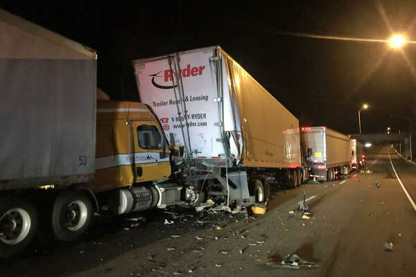Four tractor-trailer trucks were involved in an overnight accident on I-91 in Meriden on Thursday, July 20, 2017. The road was closed while crews cleared the scene. I-91 north reopened for the Friday AM commute.