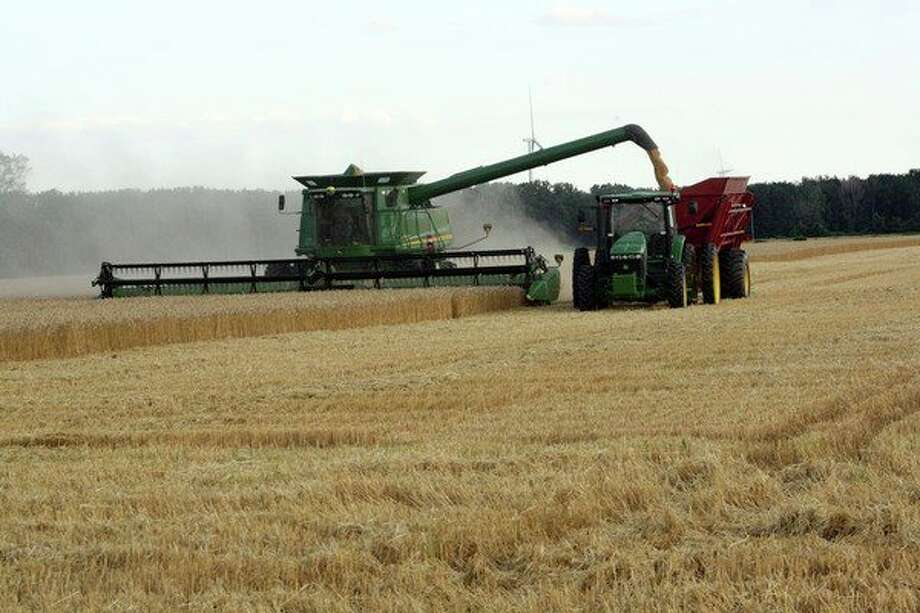 The annual wheat harvest plays a huge role in Huron County economics. One of the earliest harvests of the season was seen Saturday afternoon in the Caseville area, part of the Kretzschmer Brothers farming operation. (Rich Harp/For the Tribune)