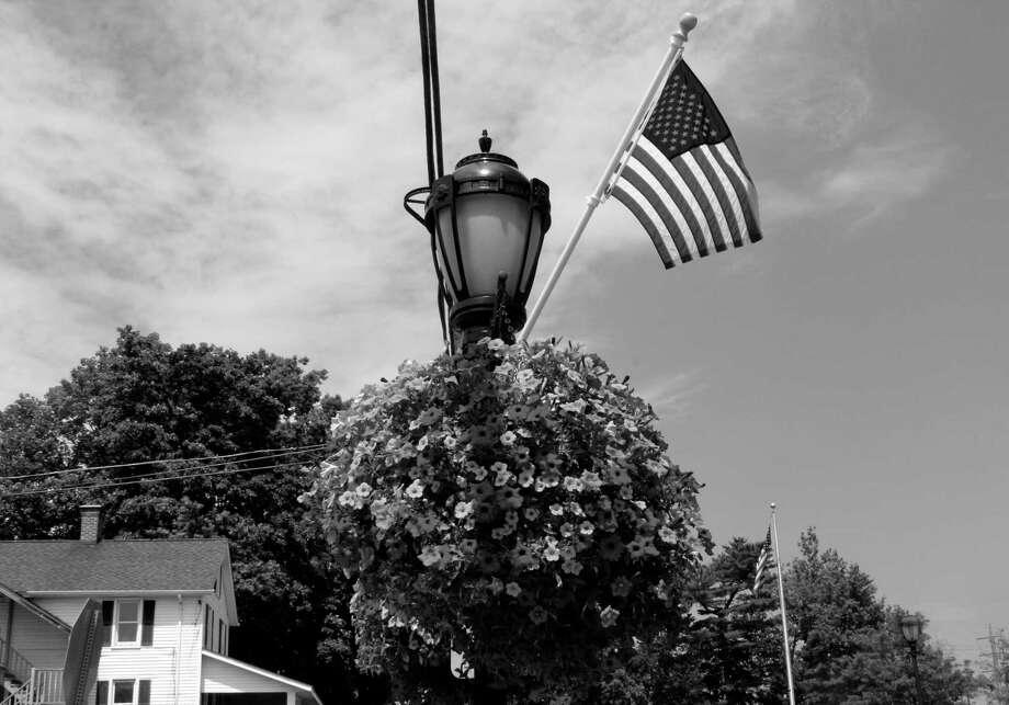 Patriotic spirit in downtown Darien on July 18. Photo: Erin Kayata / Hearst Connecticut Media / Darien News