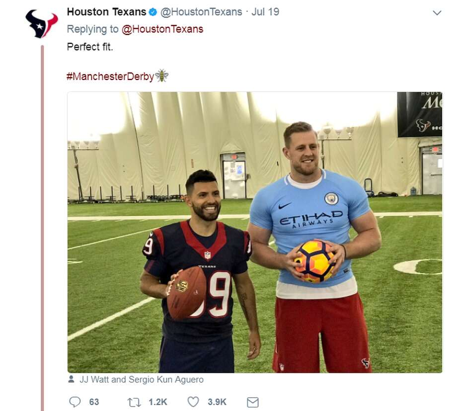 J.J. Watt sports a firm fitting soccer jersey to commemorate Manchester City playing Manchester United at NRG Stadium. Click through to see some photos of Watt and other fans at the Manchester Derby. Photo: Houston Texans/Twitter