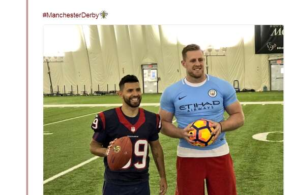 J.J. Watt sports a firm fitting soccer jersey to commemorate Manchester City playing Manchester United at NRG Stadium.