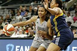 Stars' Nia Coffey looks for room around the Indiana Fever's Erica McCall during second half action on July 20, 2017 at the AT&T Center. The Stars won 85-61.