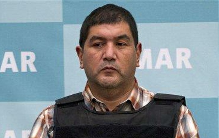 """The alleged leader of a faction of the Zetas cartel, Iván Velázquez Caballero, known as """"El Taliban,"""" seen during a media presentation at the Mexican Navy's Center for Advanced Naval Studies in Mexico City on Sept. 27, 2012, received 30 years for drug trafficking and money laundering charges."""