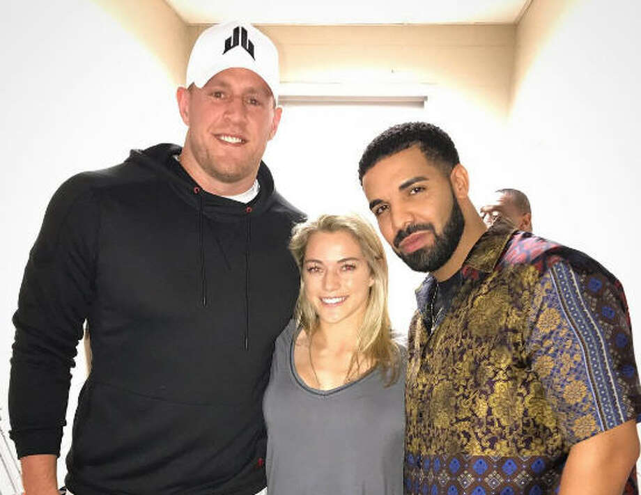 With rapper and honorary Houstonian Drake in town this week there were bound to be some amazing celebrity sightings around the city. The pop star was able to visit with a local football player and his soccer-playing girlfriend. Click through to see more photos from the epic soccer match at NRG Stadium... Photo: J.J. Watt on Instagram Photo: J.J. Watt On Instagram
