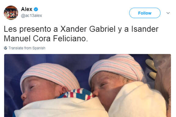 Astros bench coach Alex Cora announced the birth of his twins Xander Gabriel and Isander Manuel on Friday morning.