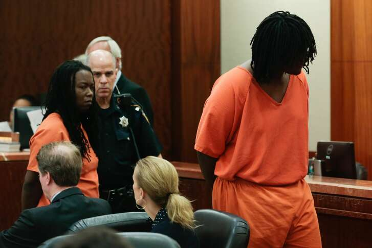 Ellen Breaux and her 17-year-old son, Messiah Breaux, appear in court, charged with aggravated robbery with a deadly weapon on Friday, July 21, 2017, in Houston. They are accused of robbing a man at gunpoint outside of his Cypress Station-area apartment complex, according to court documents.