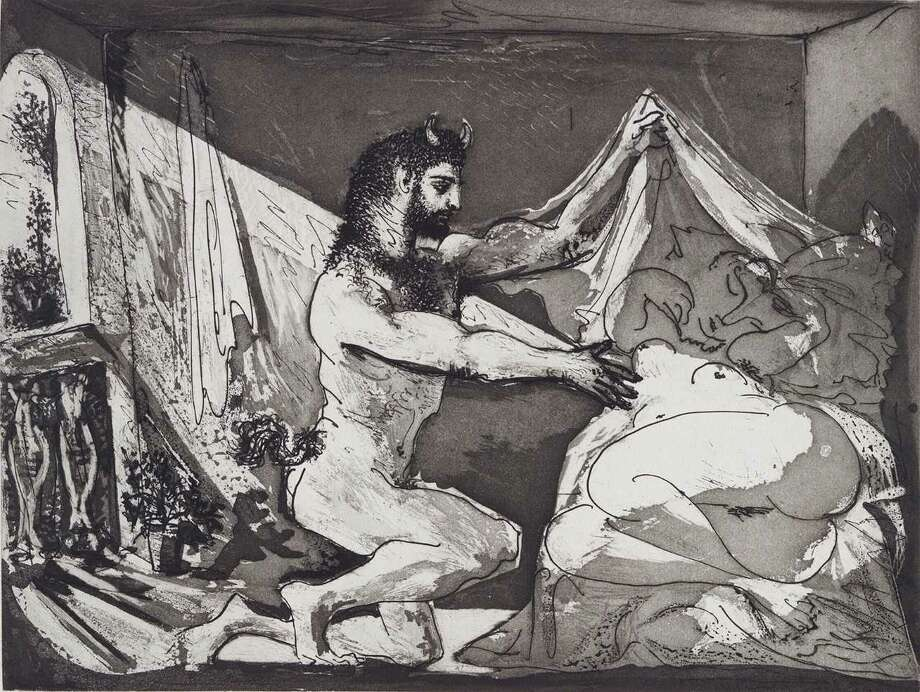"""Picasso's """"Faun Unveiling Sleeping Girl"""" 1936 (printed 1939). Aquatint and sugar-lift aquatint engraving and scraper on paper."""