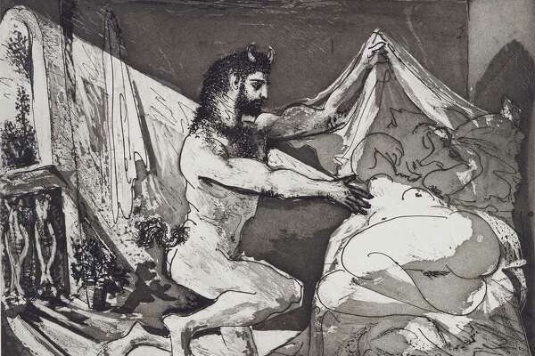 "Picasso's ""Faun Unveiling Sleeping Girl"" 1936 (printed 1939). Aquatint and sugar-lift aquatint engraving and scraper on paper."