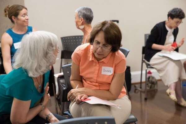 Donna Murphy, of Fairfax County, Virginia, participates in a Better Angels workshop on political dialogue in Kensington, Md.