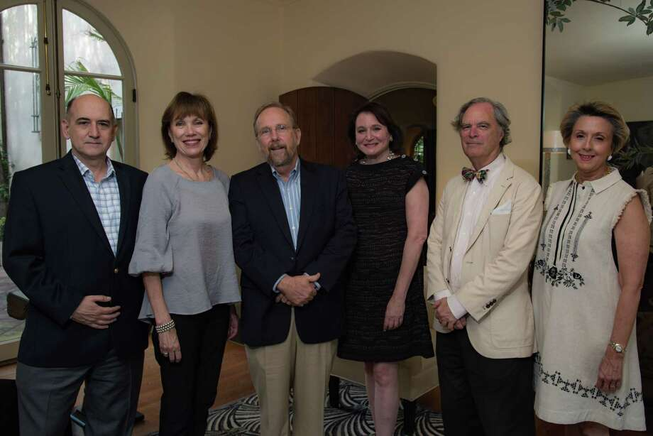 Among those at the event were, from left, David Bush, acting executive director of Preservation Houston; Deborah Keyser, president of Preservation Houston; John Cryer, immediate past president; Katherine Warren of Martha Turner Sotheby's International Realty; Stephen Fox; and Penny Jones, board secretary, Preservation Houston. Photo: Courtesy Of Jeff Fitlow