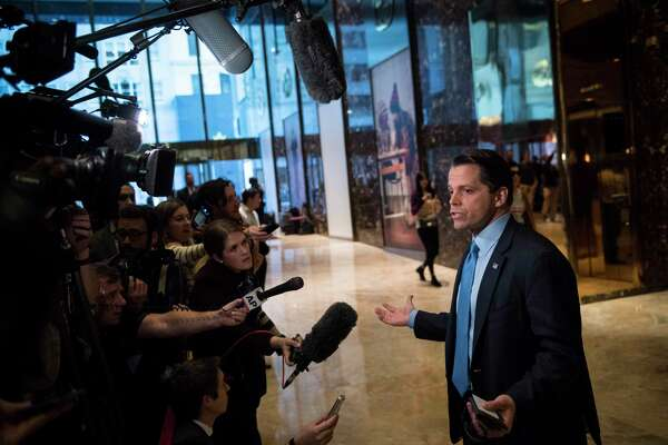 Anthony Scaramucci, who served on President-elect Donald Trump's transition team executive committee, talks with media at Trump Tower in New York on Nov. 17, 2016.