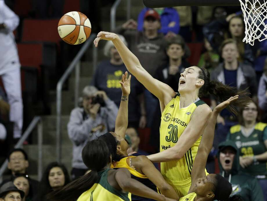 Seattle Storm's Breanna Stewart blocks a shot by Indiana Fever's Briann January in the final minute of a WNBA basketball game Sunday, May 14, 2017, in Seattle. The Storm won 87-82. (AP Photo/Elaine Thompson) Photo: Elaine Thompson/AP