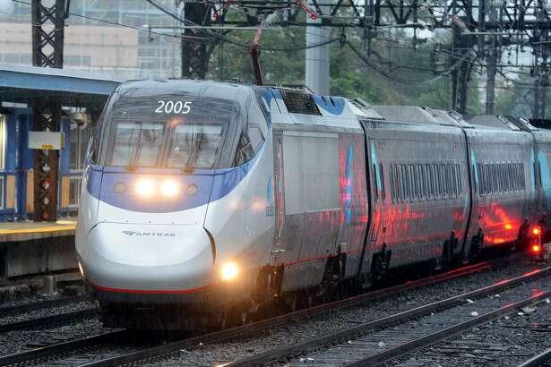 An Amtrak Acela train passes through Connecticut.