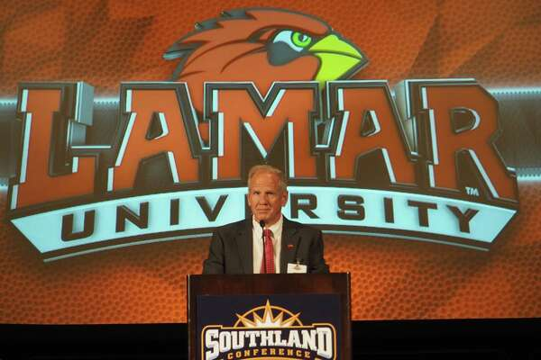 Lamar football coach Mike Schultz speaks during Southland Media Day at Hilton Americas Hotel in Houston on Thursday.