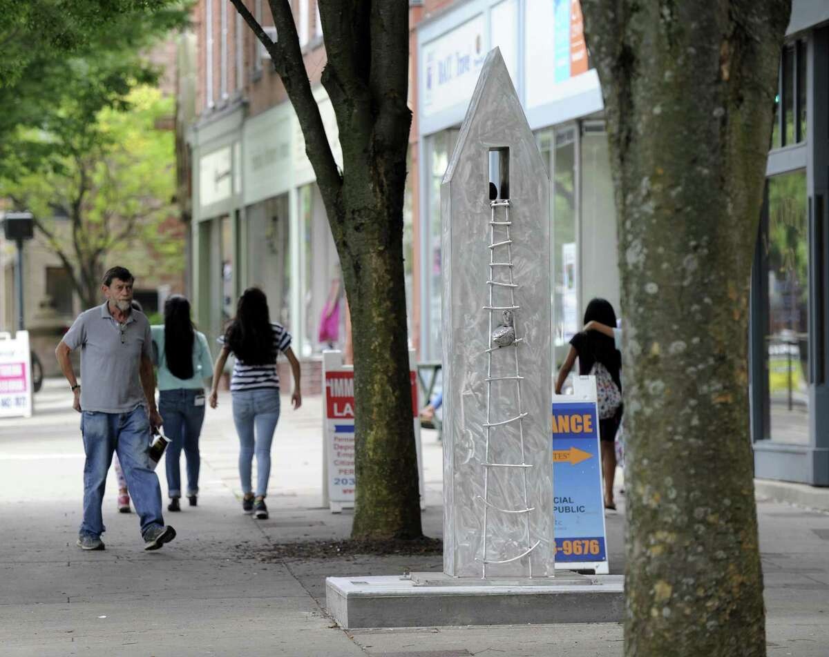 An Urban Sculpture Garden in part of the downtown Danbury landscape last month. The city recorded a 4.2 percent unemployment rate in June.