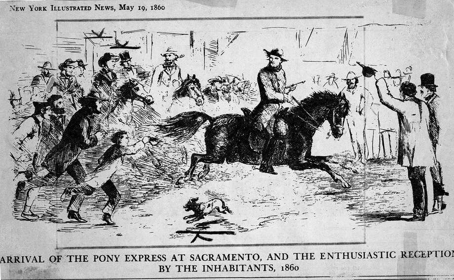 Illustration of the Pony Express arriving in Sacramento.