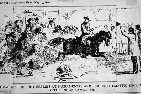 Illustration of the Pony Express arriving in Sacramento  Handout
