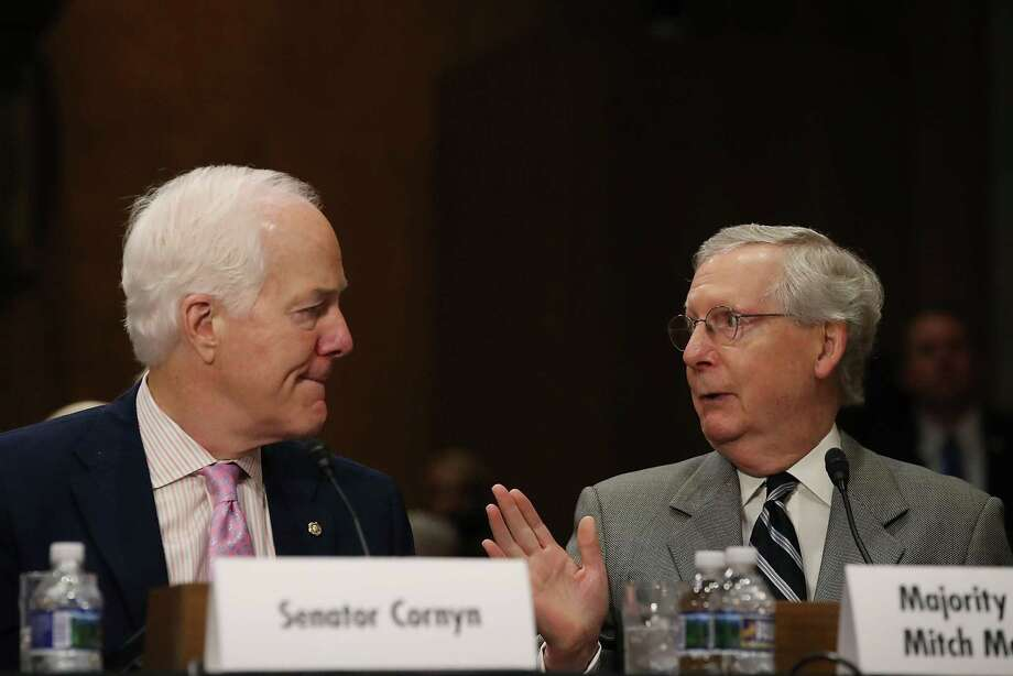 WASHINGTON — Senate Majority Leader Mitch McConnell, R-Ky., and Sen. John Cornyn, R-Texas, attend a Foreign Relations Committee comfirmation hearing for ambassadorships on June 20, 2017. They are working closely on drafting a new health care plan to replace the Affordable Care Act. Photo: Mark Wilson /Getty Images / 2017 Getty Images