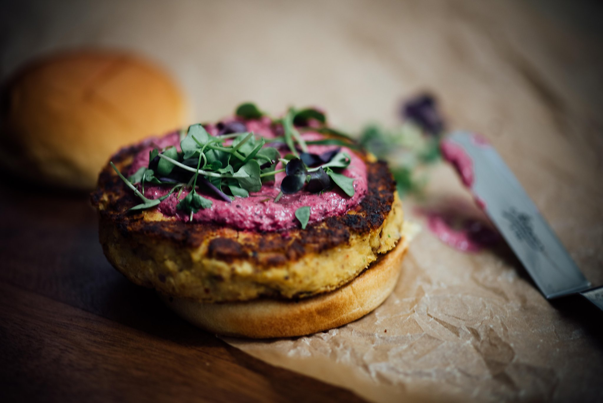Been cooking in the kitchen for three weeks and were deeply in love - A Brown Kitchen Chickpea Burgers With Beet Yogurt Sauce