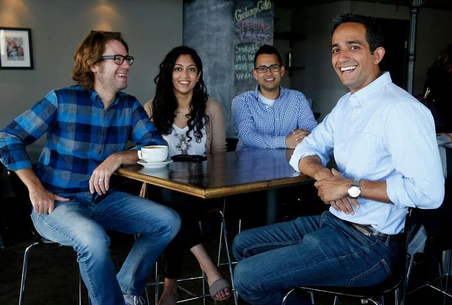 Manik Suri (right), CEO of MeWe, meets with development and marketing team members Andrew Hager (left), Sundus Arain and Ranjeet Sidhu, chief technical officer. The startup makes a food-inspection app called CoInspect, below. Photo: Paul Chinn, The Chronicle