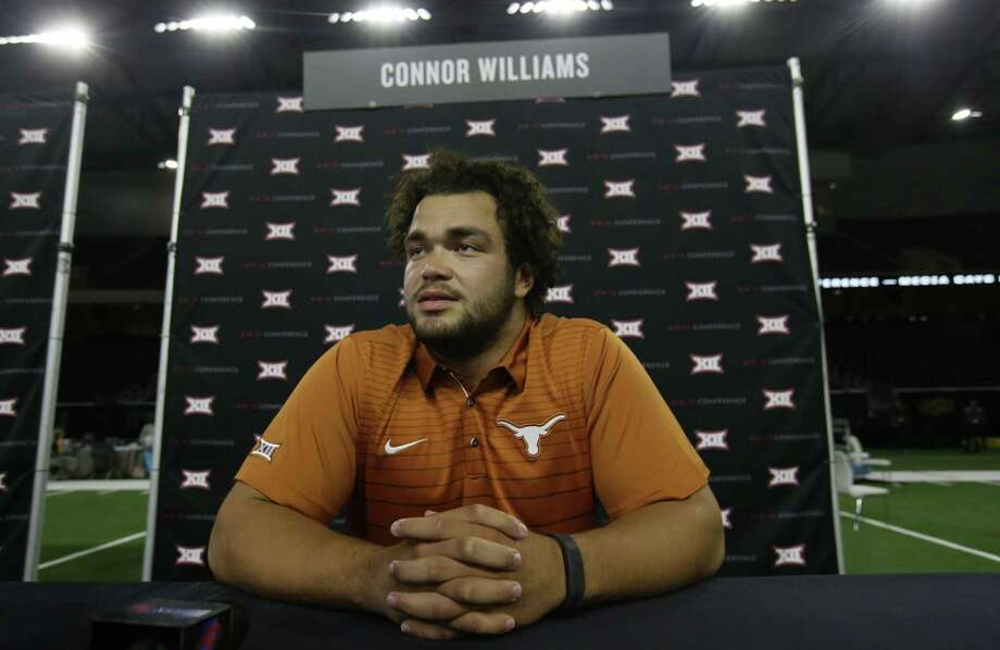 Texas offensive lineman Connor Williams waits to give an interview during the Big 12 media days in Frisco on July 18, 2017. Photo: LM Otero /Associated Press / Copyright 2017 The Associated Press. All rights reserved.