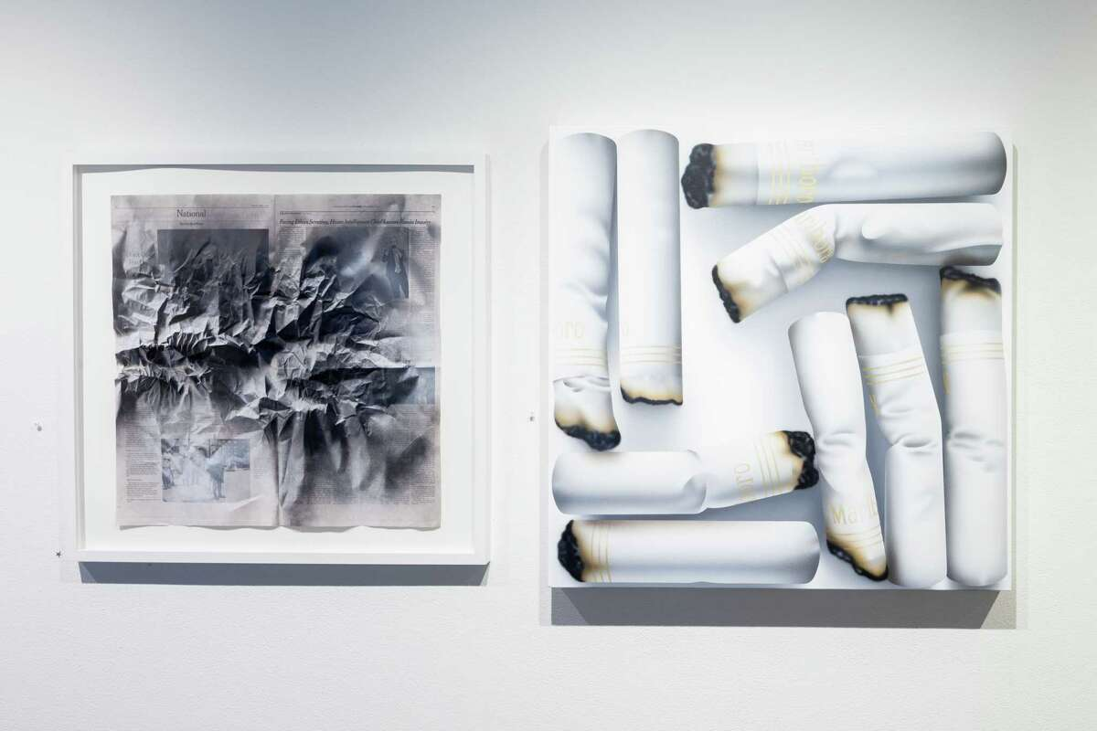 """Renata Lucia's """"News vs. Nature (Inquiry), left, and Rachel Hecker's """"Cigarette Arrangement #2"""" are among works in 2017's """"The Big Show."""" Lucia, an emerging artist, won one of the three awards given by juror Toby Kamps. Hecker, a veteran, teaches at the University of Houston."""