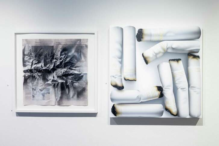 """Renata Lucia's """"New vs. Nature (Inquiry), left, and Rachel Hecker's """"Cigarette Arrangement #2"""" are among works in 2017's """"The Big Show."""" Lucia, an emerging artist, won one of the three awards given by juror Toby Kamps. Hecker, a veteran, teaches at the University of Houston."""